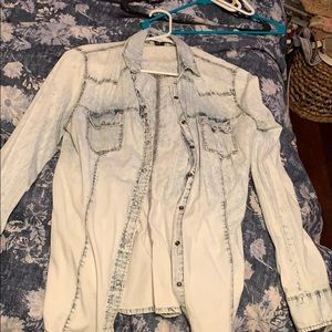 Light washed denim button up size medium Forever21